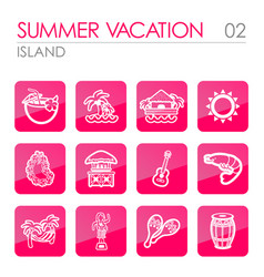 island beach icon set summer vacation vector image vector image