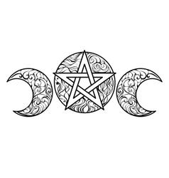 Line art pentagram vector