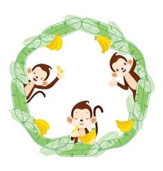 Monkey and banana on circle frame vector
