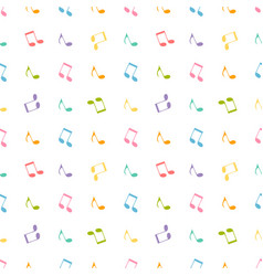 Pattern with colorful music notes vector