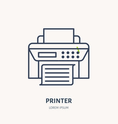 printer with paper page flat line icon wireless vector image vector image
