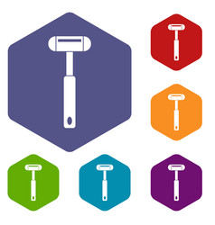 Reflex hammer icons set hexagon vector