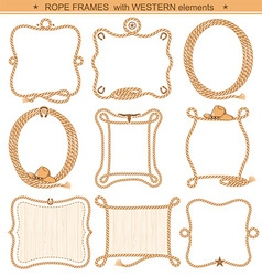 Rope frames background for text with cowboy vector image vector image