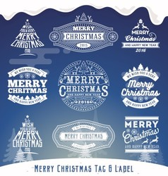 Set of Christmas decoration typography tag and lab vector image