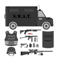 set of swat police gear swat bus shield helmet vector image vector image