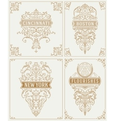 Set of Vintage cards template vector image