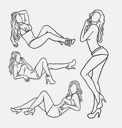 sexy girl pose sketches vector image vector image