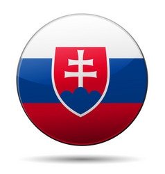Slovakia flag button with reflection and shadow vector