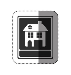 Sticker of monochrome portrait of traditional home vector