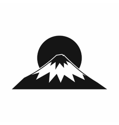 Sun and mountain icon simple style vector