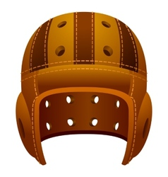 Vintage old leather american football helmet vector image