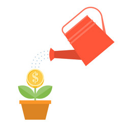 Watering can and dollar plant in pot vector