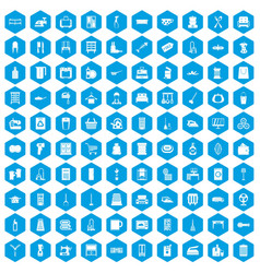 100 housework icons set blue vector