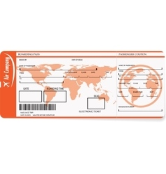 Airline boarding pass tickets with barcode vector