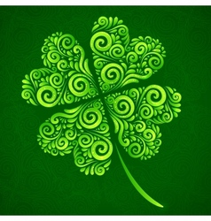 Ornate clover on dark green background vector