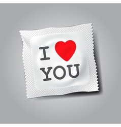 Condom with text i love you vector