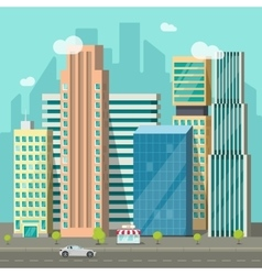 Cityscape city buildings road big skyscrapers vector
