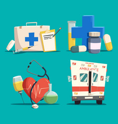 first aid kit and cross emergency bus and heart vector image
