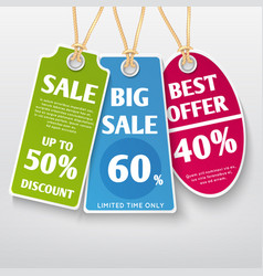 price tags stickers sale labels with discount vector image
