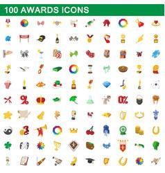 100 awards icons set cartoon style vector