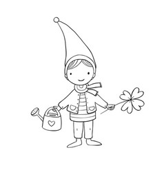 cute little gnome with clover and watering vector image