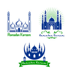 Greeting icons for ramadan kareem vector