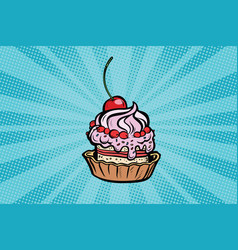 Cupcake dessert with cherries and cream vector