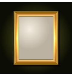 Gold picture frame with light canvas vector