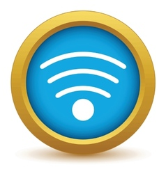 Gold wi-fi icon vector