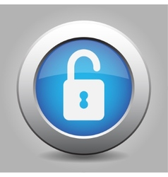 Blue metal button with open padlock vector