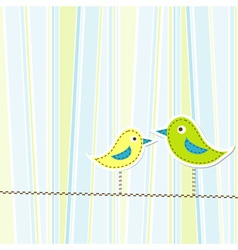 Birds greeting card template vector