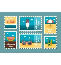 Summertime stamp set flat vector