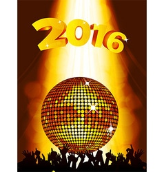 New years party background with disco ball and vector