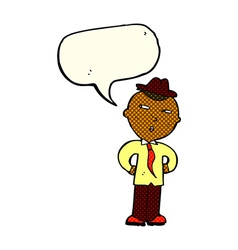 Cartoon man wearing hat with speech bubble vector