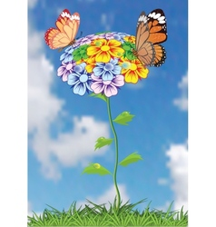 Tree with butterflies and dragonflies vector