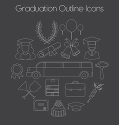 Graduation celebrating education icon set vector