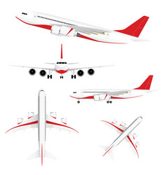 airplane set with red vector image vector image