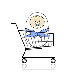 Baby in basket vector image