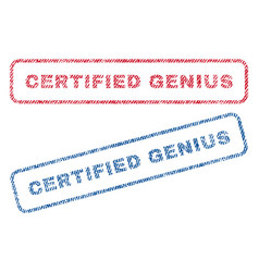 Certified genius textile stamps vector