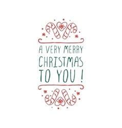 Christmas label with text on white background vector image vector image