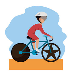 Color scene with faceless bicycle rider vector