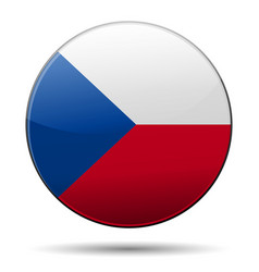 Czech republic flag button with reflection and vector