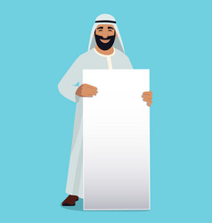 Empty white banner in hands of arabic businessman vector