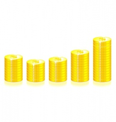 gold coins graph vector image vector image
