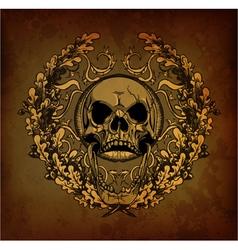 grunge floral frame with skull vector image vector image