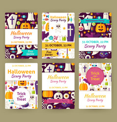 Halloween flat party invitation template set vector