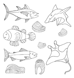 Hand-drawn sea and river fish cooked pieces set vector