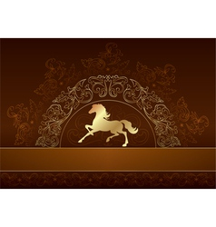 Horse silhouette on vintage floral background vector image vector image