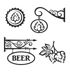 Icons set with hops vector