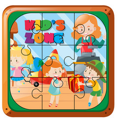 Jigsaw puzzle pieces of kids playing vector
